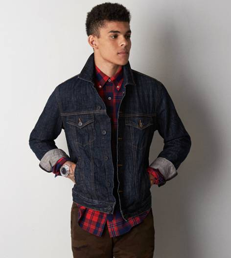 Navy AEO Dark Denim Jacket