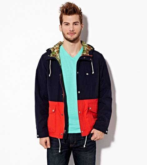 Navy AEO Colorblock Anorak
