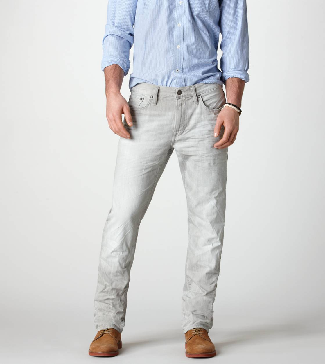 Light Faded Grey Slim Straight Jean