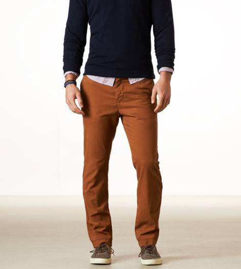 Beer Brown AEO Slim Straight Khaki