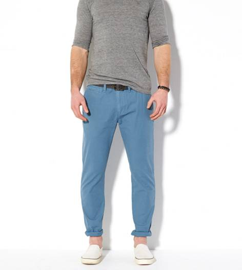 Stone Blue AEO Slim Straight Khaki