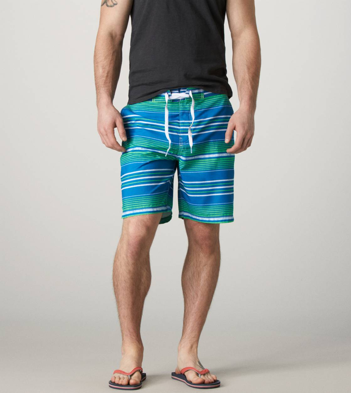 Green AE Striped Board Short