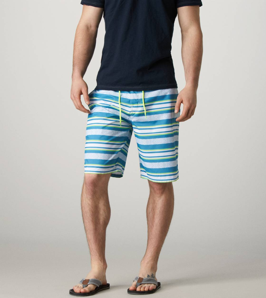 Blue AE Printed Stripe Board Short