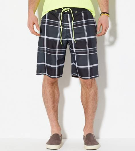 Black AEO Plaid Board Short