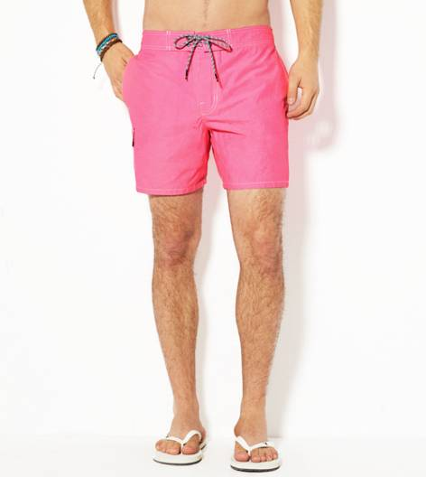 Neon Pink AE Solid Swim Trunk
