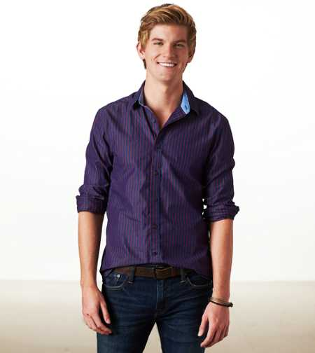 AE Slim Fit Striped Button-Down - Slim Fit