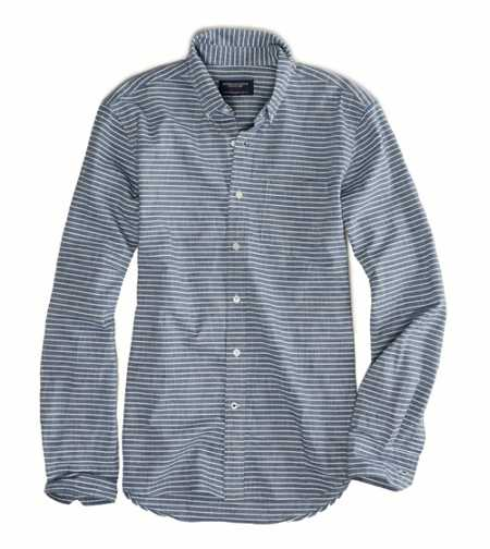 AE Striped Chambray Button Down - Prep Fit
