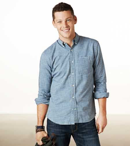 AE Striped Chambray Button-Down - Athletic Fit