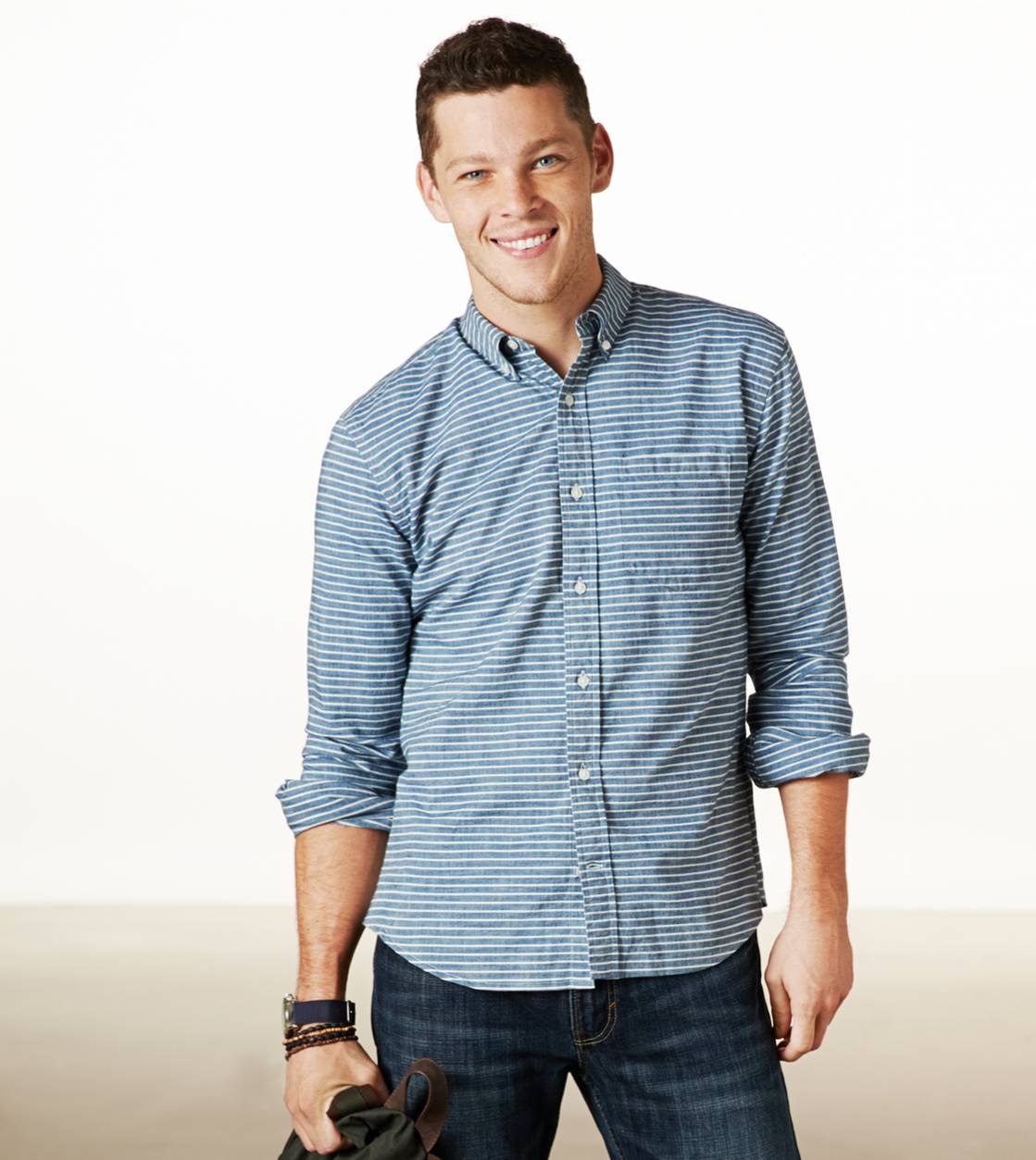 AE Striped Chambray Button Down | American Eagle Outfitters