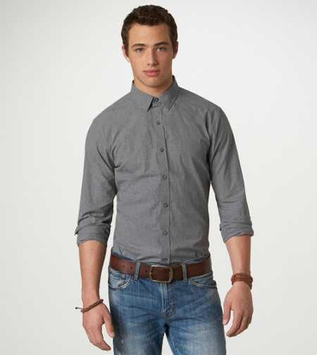 AE Solid Button-Down - Slim Fit