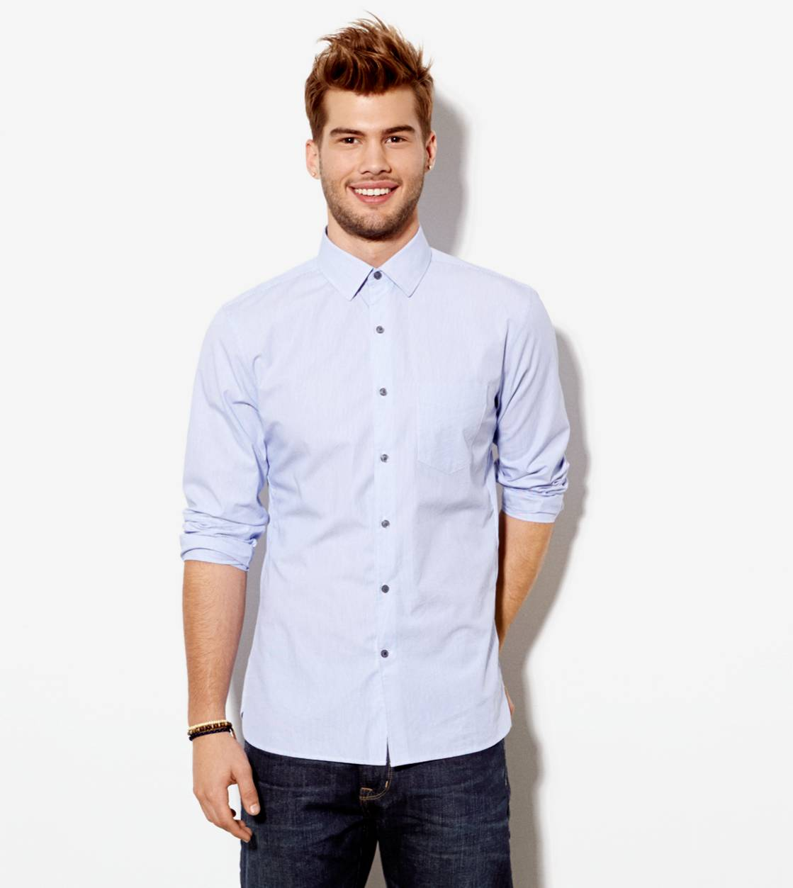 Blue AE Crisp Button Down Shirt