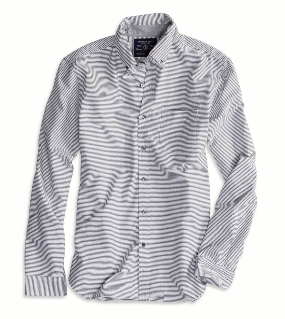 White  AE Striped Oxford Button Down Shirt
