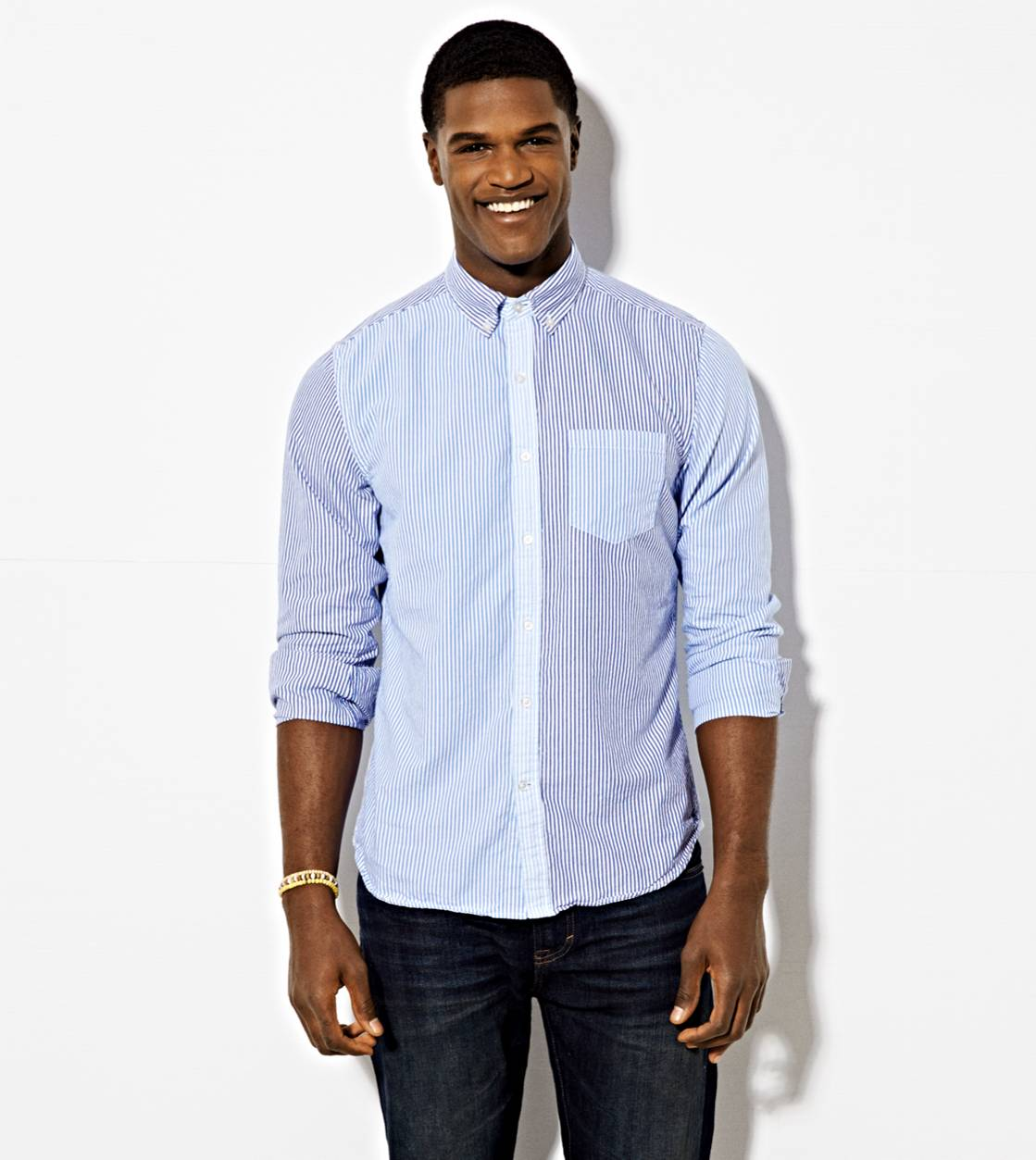 Blue AE Striped Button Down Shirt