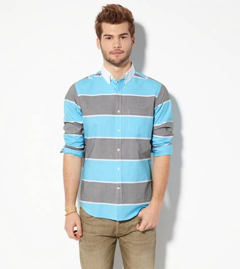 Blue AEO Striped Button Down Shirt