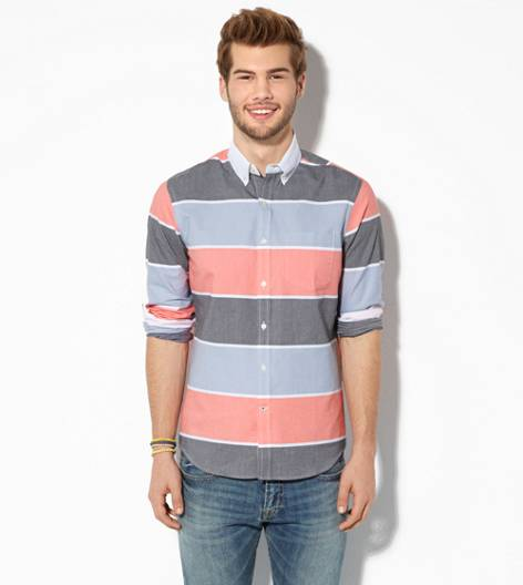 Multi AEO Striped Button Down Shirt