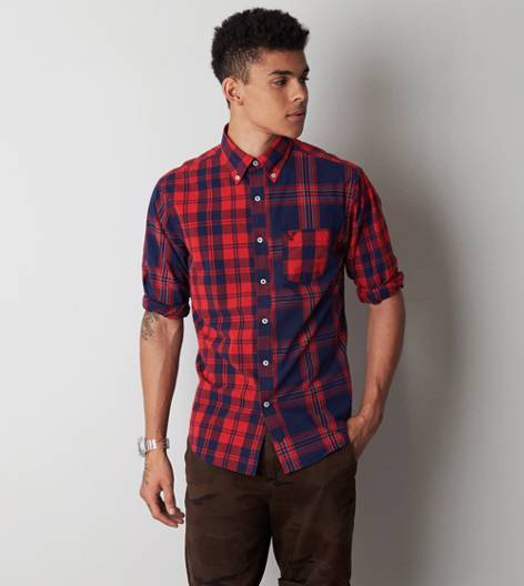 Red AEO Plaid Button Down Shirt