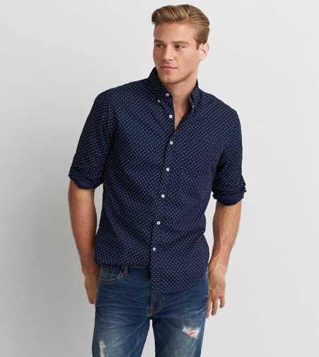 AEO Printed Button Down Shirt  - Buy One Get One 50% Off