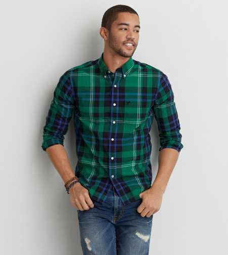 AEO Poplin Plaid Button Down Shirt  - Buy One Get One 50% Off
