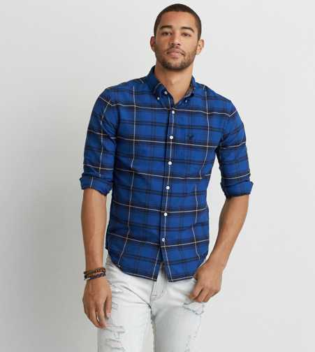 AEO Oxford Plaid Button Down Shirt  - Buy One Get One 50% Off