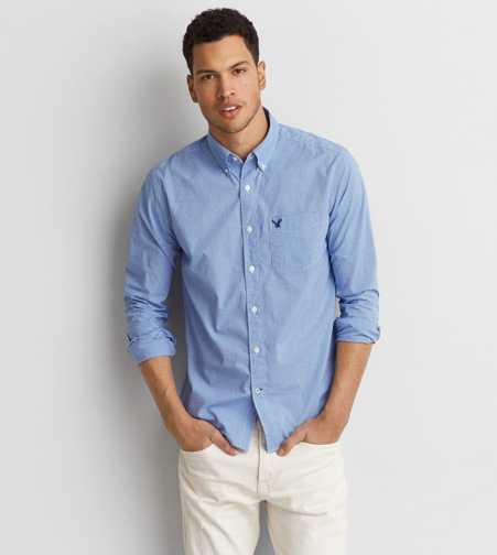 AEO Poplin Micro Check Shirt - Buy One Get One 50% Off