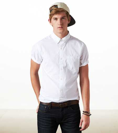 AE Solid Short Sleeve Button-Down - Vintage Fit