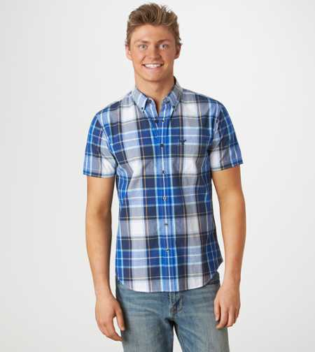 AE Plaid Short Sleeve Button-Down - Vintage Fit