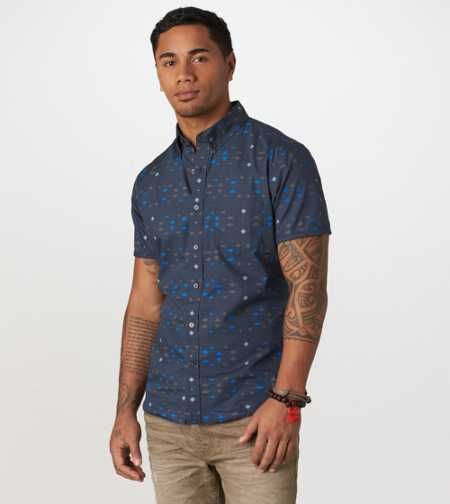 AE Printed Short Sleeve Button-Down - Vintage Fit