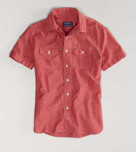AE Chambray Short Sleeve Shirt - Vintage Fit