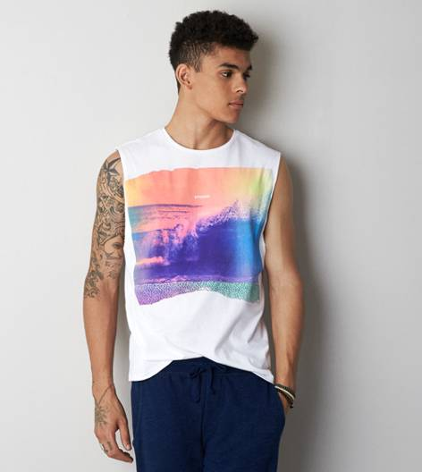 White  AEO Photo Real Muscle T-Shirt
