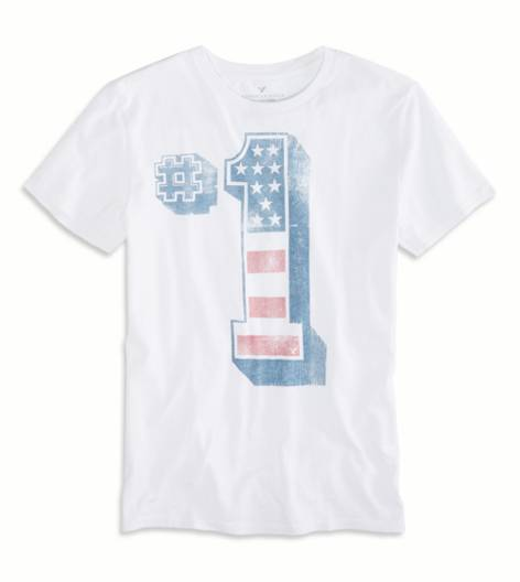 White  AEO Number 1 Graphic T-Shirt