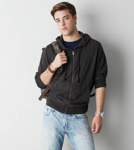 True Black AEO Full Zip Hoodie T-Shirt
