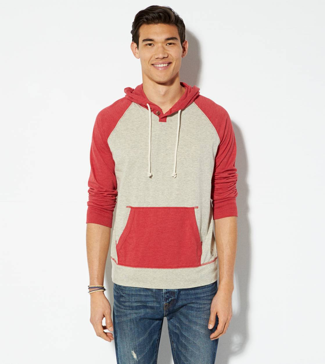 Oatmeal Heather AE Colorblocked Hoodie T-Shirt