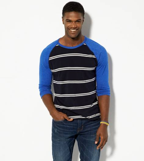 Peacoat Navy AEO Striped Baseball T-Shirt
