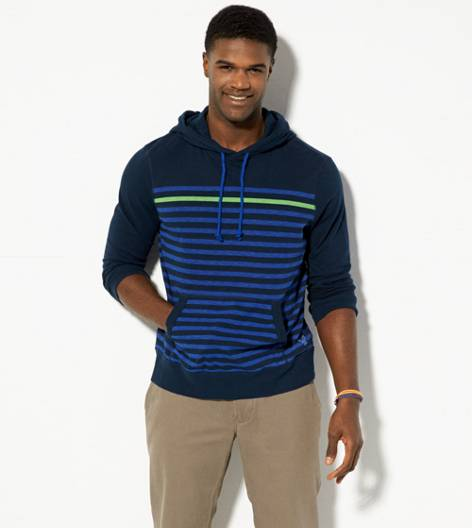 Thunder Teal AEO Striped Hoodie T-Shirt