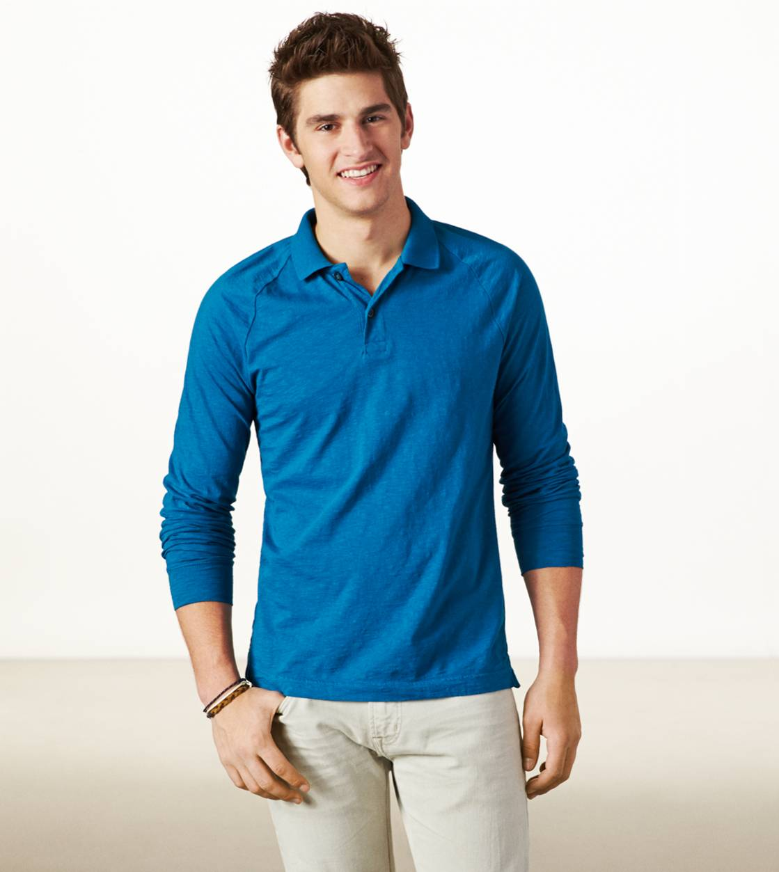 Heritage Teal AE Long Sleeve Polo