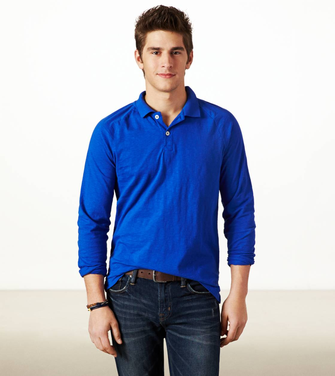 Cobalt Blue AE Long Sleeve Polo