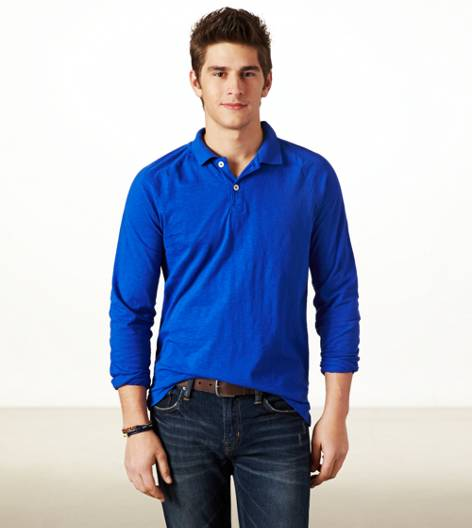 Cobalt Blue AEO Long Sleeve Polo