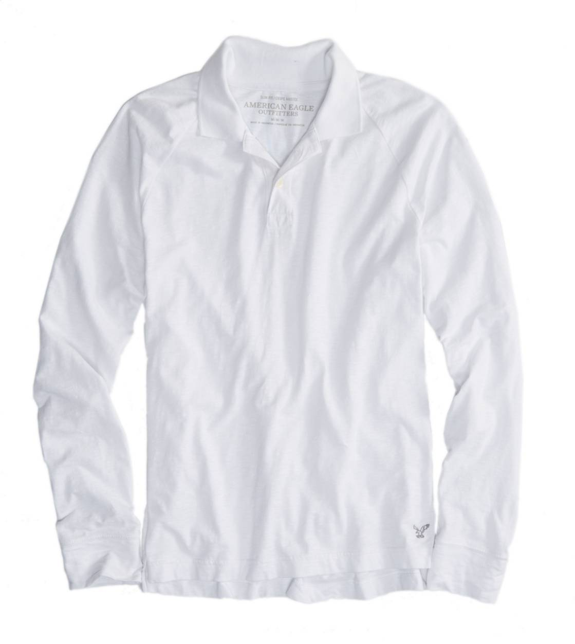 White  AE Long Sleeve Polo