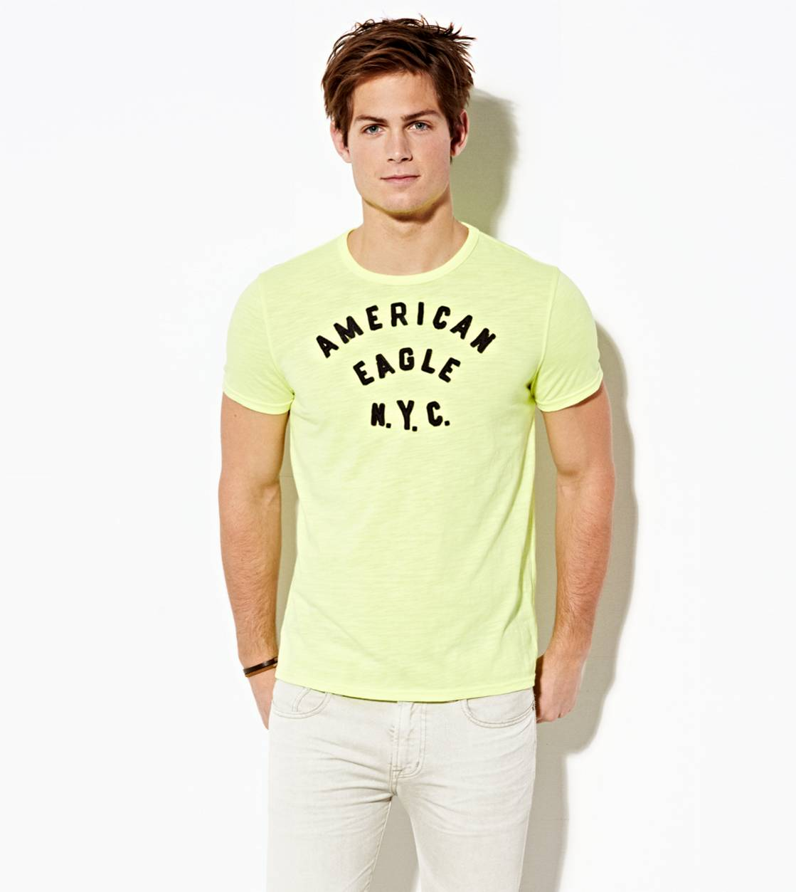 Deep Neon Yellow AE NYC Applique T-Shirt