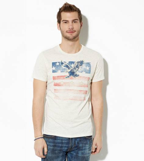 Oatmeal AEO Applique Graphic T-Shirt