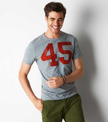 AEO Flocked 45 Graphic T-Shirt - Buy One Get One 50% Off