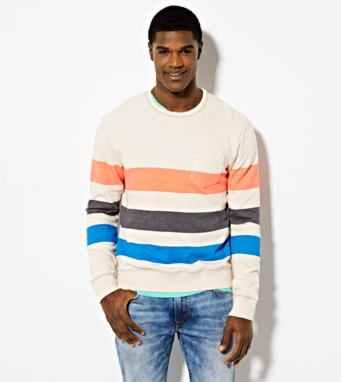 Raw White AE Striped Sweatshirt