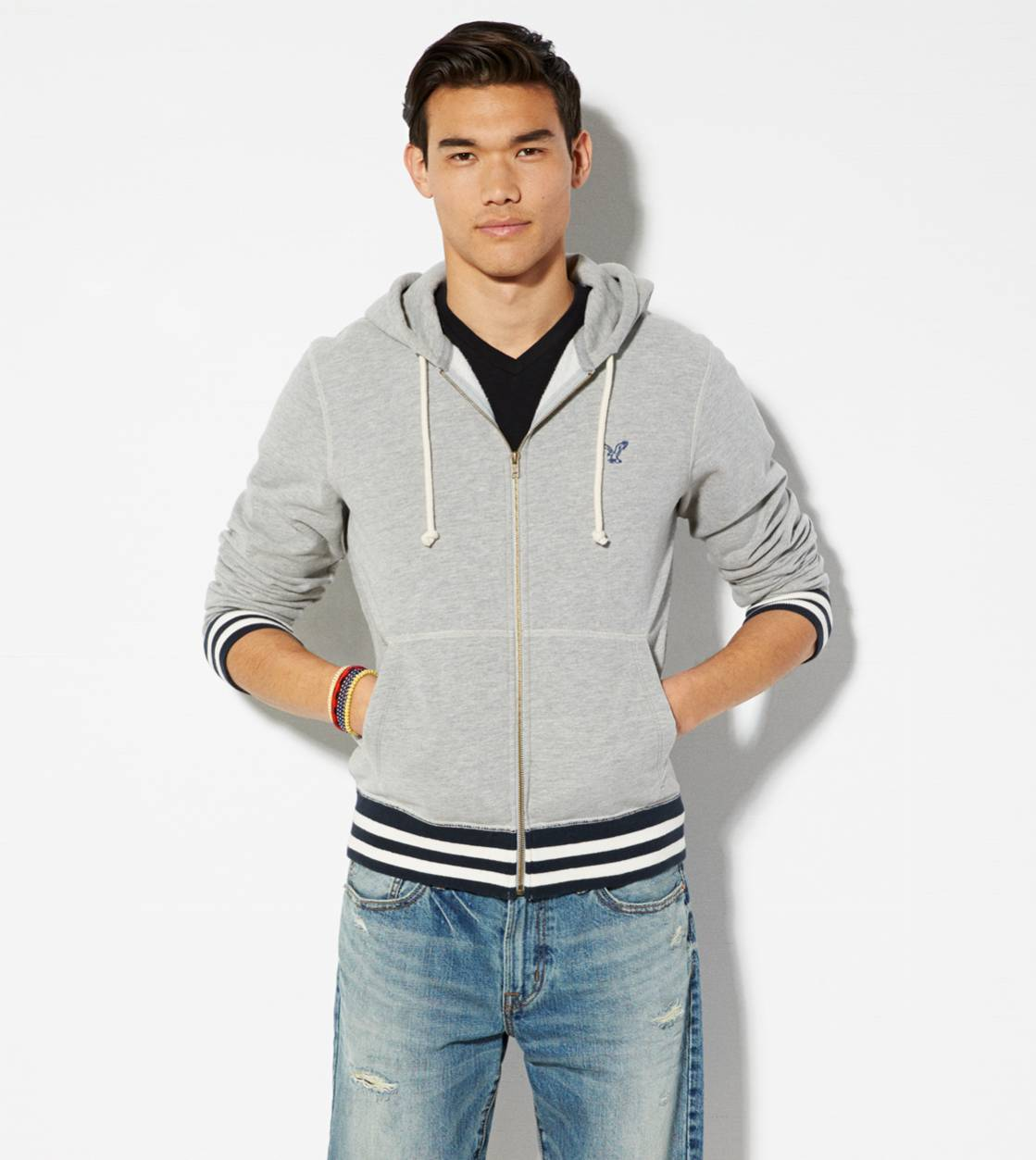 Grey Heather AE Tipped Full Zip Hoodie