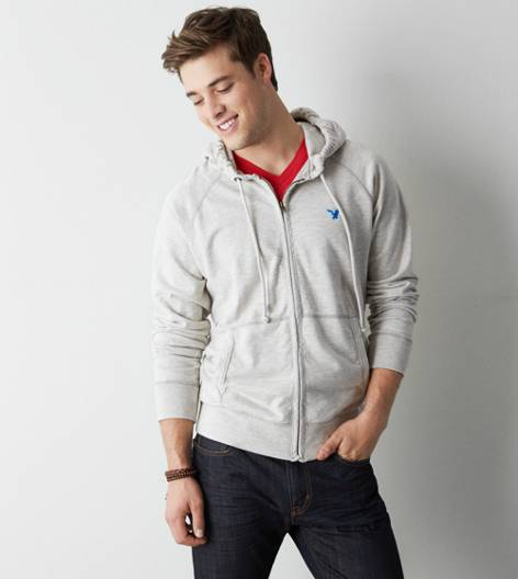 Lightening Grey AEO Solid Full-Zip Hoodie
