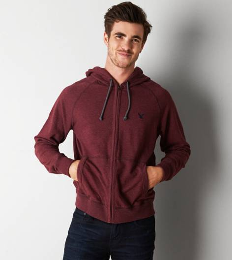 Wineberry AEO Solid Full-Zip Hoodie
