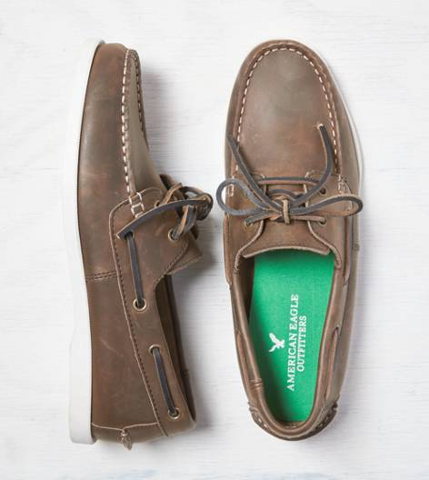 Light Brown AEO Leather Boat Shoe