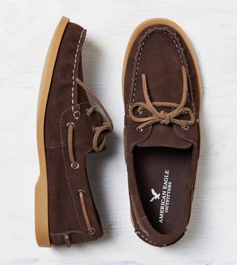 Dark Brown AEO Suede Boat Shoe