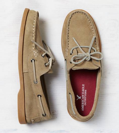 Light Khaki AEO Suede Boat Shoe
