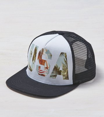 19a80de0418 aeo photo real trucker hat black american eagle outfitters