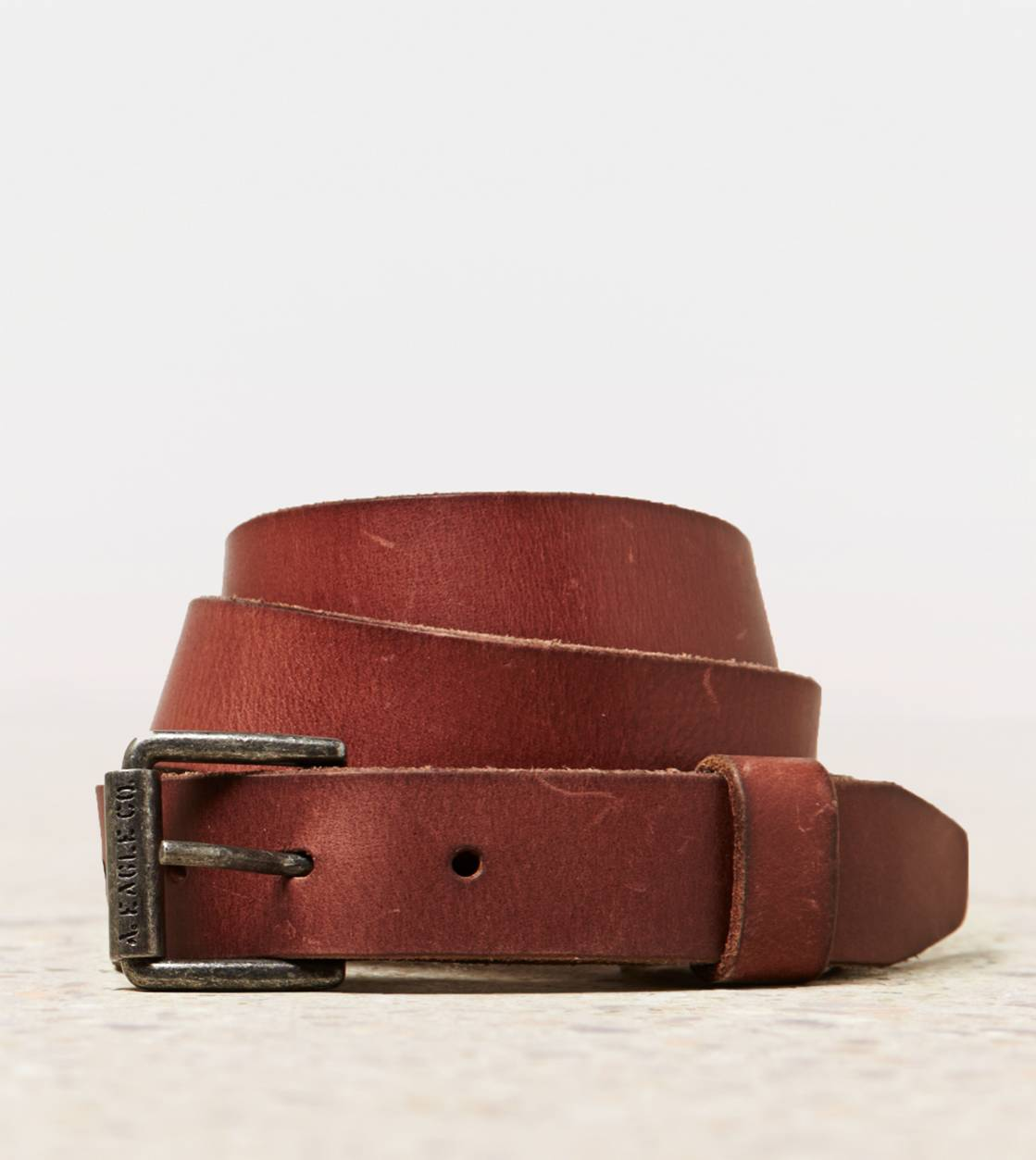 Brown AEO Skinny Leather Belt